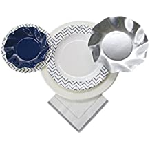 Sophistiplate Disposable Paper Plate Set, Chevron Silver Plates, for 8 Guests, 64 Pieces for holidays, parties, showers, and any special entertaining!