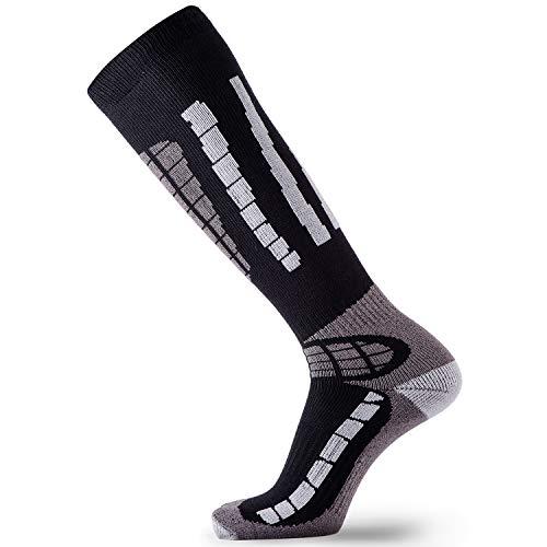 Pure Athlete Ski Socks - Best Lightweight Warm Skiing Socks (Black/Grey, L/XL) ()