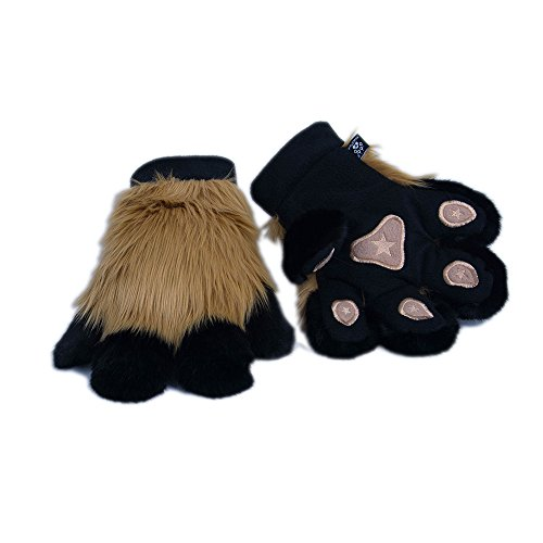 Pawstar Paw Mitts Furry Animal Hand Paws Costume Gloves Adults - Butterscotch