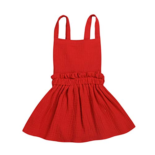 WOCACHI Toddler Baby Girls Dresses, Infant Baby Girls Solid Strap Backless Princess Sundresses Outfits Back to School Easter Egg Costume Parade Bunny Lily Eggs Roll Basket Mother's Day Red ()