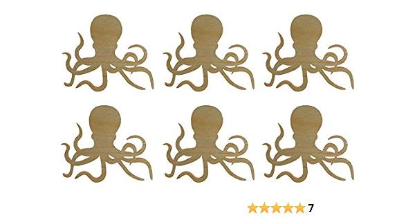 1 10x Wooden Octopus Shape Wood Octopus Craft Blanks Embellishments Decoration Gift Decoupage MG000913
