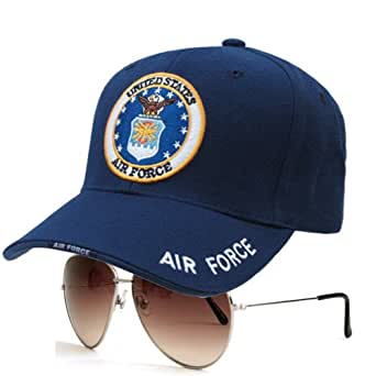 RAPID DOMINANCE The Legend Airforce Branch Caps with Trisha Aviator Sunglasses Basic Style (Airforce Cap with Silver / Brown Sunglass)
