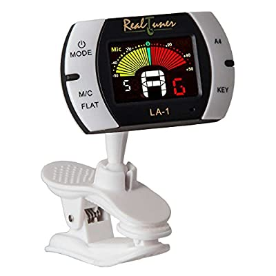 Real Tuner - Chromatic Clip-on Tuner for Guitar, Bass, Violin, Ukulele, Banjo, Brass and Woodwind Instruments - Bright Full Color Display - Extra Mic Function - A4 Pitch Calibration - Transposition