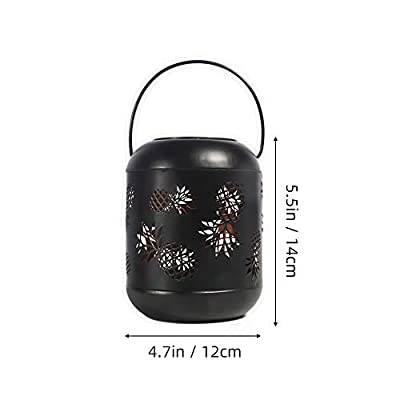 Solar Powered LED Pineapple Projection Light Decorative Night Light, Solar Lamp for Garden Pathway Patio Camping (Black)