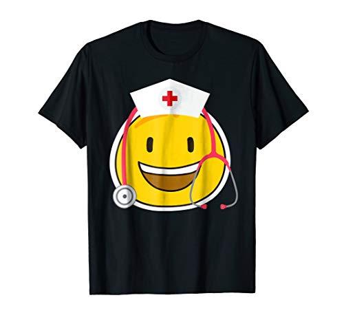 Awesome Funny Halloween Costume Nurse Emoji Tshirt