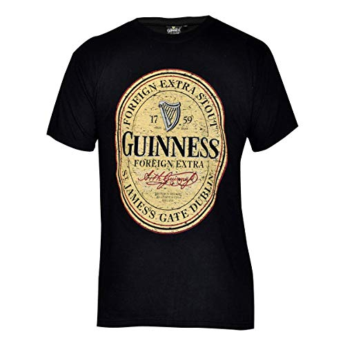 Guinness Distressed English Label T-Shirt, X-Large