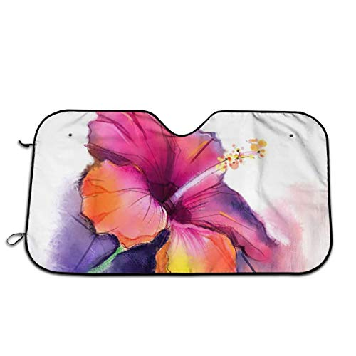 Hibiscus Flower In Pastel Abstract Romantic Petal PatternWindshield Sunshade Snow Frost Cover Automotive Protector Cover Blocks UV Rays To Keep Your Vehicle Cool For Trucks/Vehicles/Van/SUV Universal