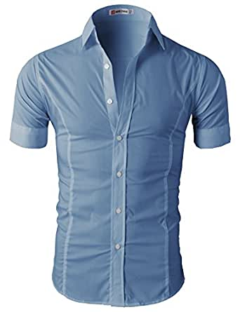 Mens Wrinkle Free Slim Fit Dress Short Sleeve Shirts Of Various Colors CHARCOAL US L/Asia XXL (JASK14_36)