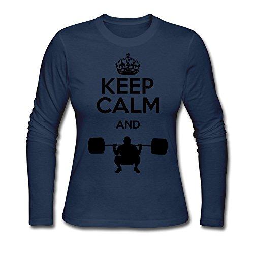 Women's Keep Calm Weight Lifting Long Sleeve T Shirt Navy