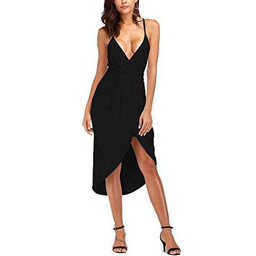 YS.DAMAI Women's V Neck Front Cross Sexy Halter Dress Bodycon Bandage Cocktail Party Dress (XX-Large, Black)