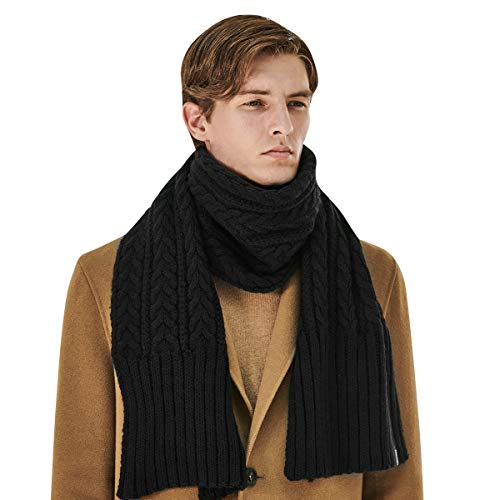CACUSS Men's Winter Long Thick Cable Knitted Scarf Soft Warm Scarves for Cold Weather Black (Black) ... (Long Scarf Knitted)