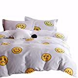 Emoji Bed in a Bag Queen Wake In Cloud - Emoji Comforter Set, 100% Cotton Fabric with Soft Microfiber Fill Bedding, Yellow Faces Pattern Printed on Light Gray Grey (3pcs, Queen Size)