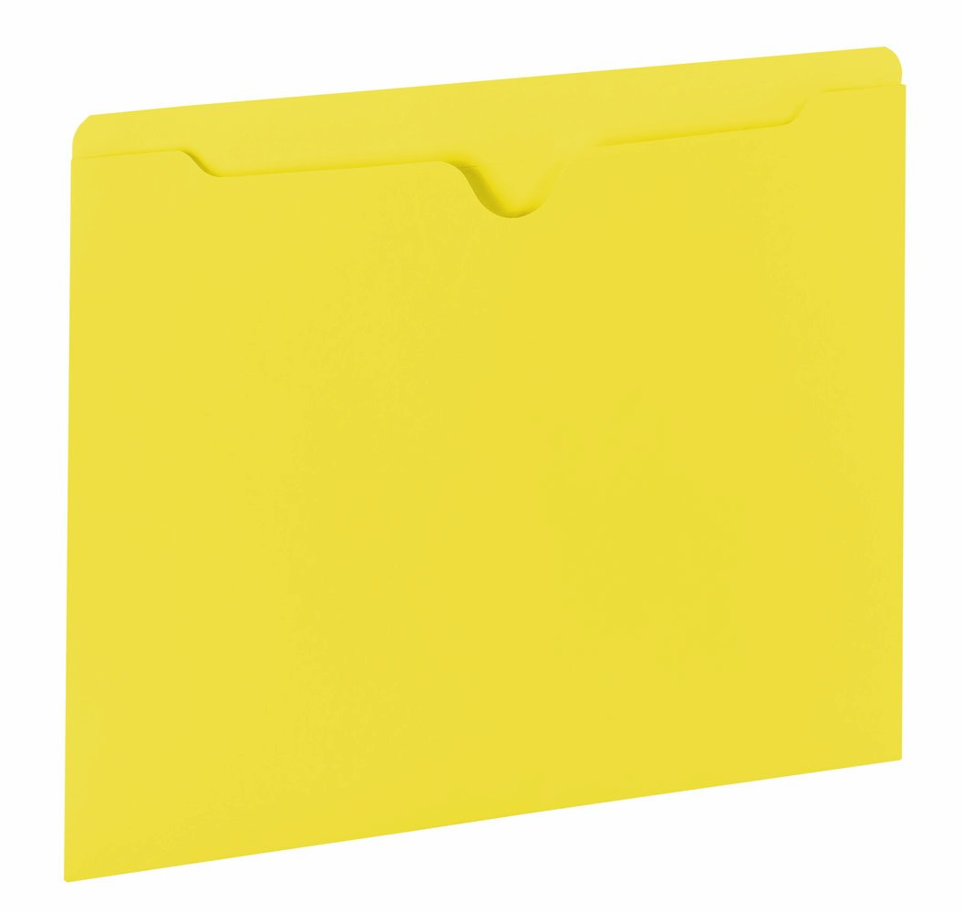 Smead File Jackets, Reinforced Double-Ply Tab, Letter, 11 Point Stock, Yellow, 100 Per Box (75511)