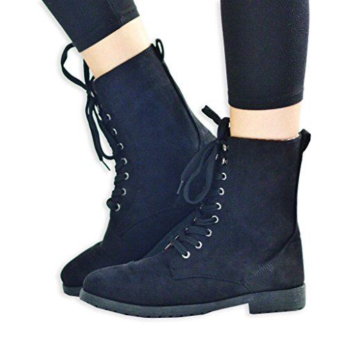 Trooper Faux Suede Ankle Combat Boot