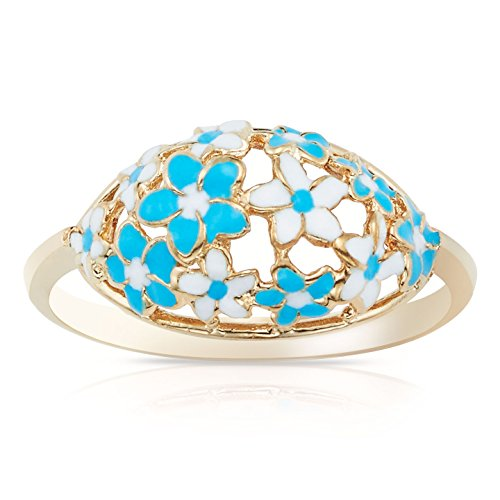 Yellow Gold Flat Band Enamel Blue and White Flower Ring for Women and Girls (7.5) (Enamel Kids Ring)