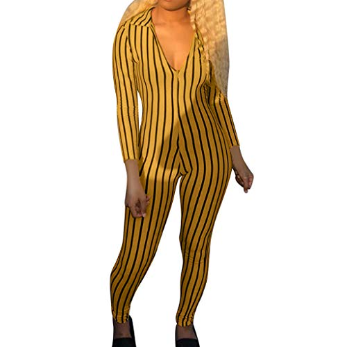 Tight Sexy Club Jumpsuit Women Long Sleeve V-Neck Stripe Printing Zipper Pant Yellow