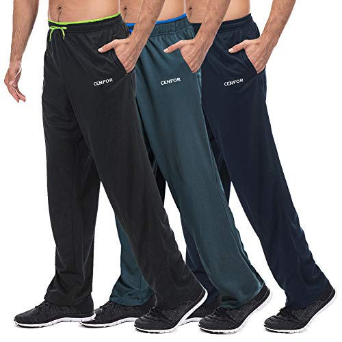 Men's Sweatpant with Pockets Open Bottom Athletic Pants,3 Piece, Jogging, Workout, Gym, Running, Hiking, Training, Set(Black,Gray,Navy Blue,L)