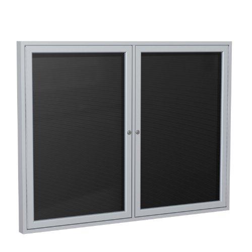 36''x48'' 2-Door Satin Aluminum Frame Enclosed Flannel Letter Board, Black by Ghent