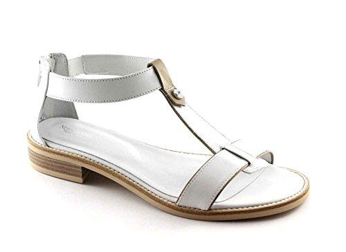 NEGRO JARDINES 17731 zip mujeres blancas de las sandalias de los zapatos de cuero Bianco