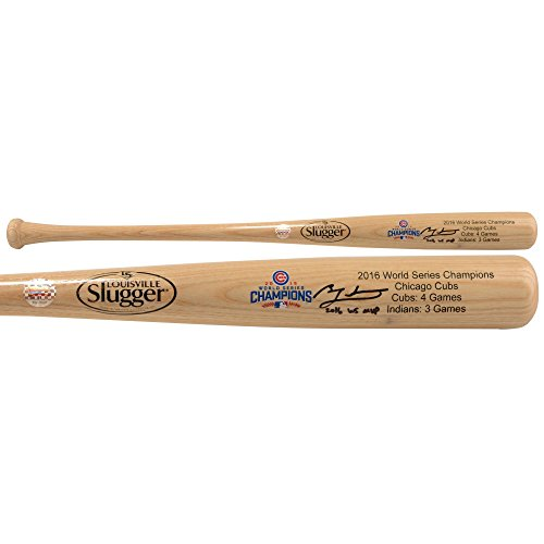 - Ben Zobrist Chicago Cubs MLB World Series Champions Autographed Louisville Slugger Blonde Champions Logo Bat with