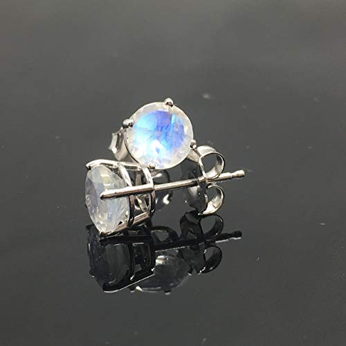 14K White Gold Genuine Rainbow Moonstone Stud Earrings - 14K Solid Gold Moonstone Studs - 6mm Moonstone Crystal Earrings - Diamond Alternative Studs (Moonstone Earrings Diamond)