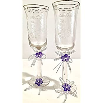Mis Quince Años Toasting Glass Cups Lavender Acrylic Flower Quinceanera Copas Keepsake