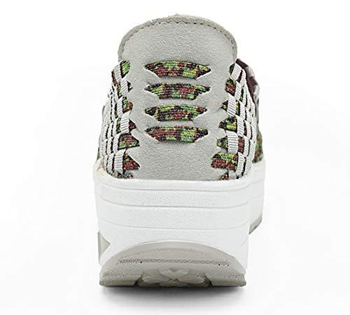 on Schuhe Damen Leichte Elastische 1668 Mode Gewebte Gehen Green Atmungsaktive Handgemachte Slip Turnschuhe rqanqdXw