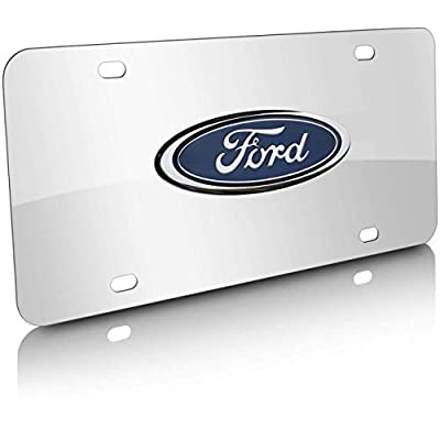 3D Logo Silver Mirror Stainless Steel Front License Plate Cover, Ford Nameplate Chrome Metal License Plate, with Screw Caps Cover Set Suit, for Ford: Automotive