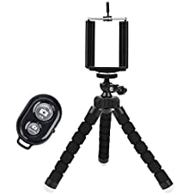 Universal Compact Tripod Stand - Remote Included - Flexible Octopus Cell Phone Camera Selfie Stick Tripod Mount for Smartphone / Digital Camera / GoPro Hero (black)