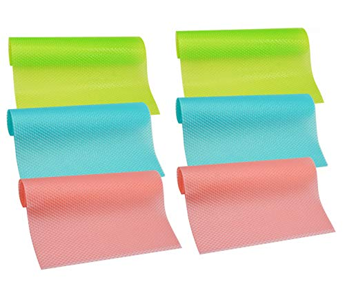HityTech 6 Pack Refrigerator Mats, Can Be Cut Refrigerator Liners Mats Anti-Bacterial Anti-Frost Waterproof Fridge Pads Shelves Drawer Table Mats - 2 Pink/2 Green/2 Blue 17 3/4 x 11 3/4 x 1/16 in