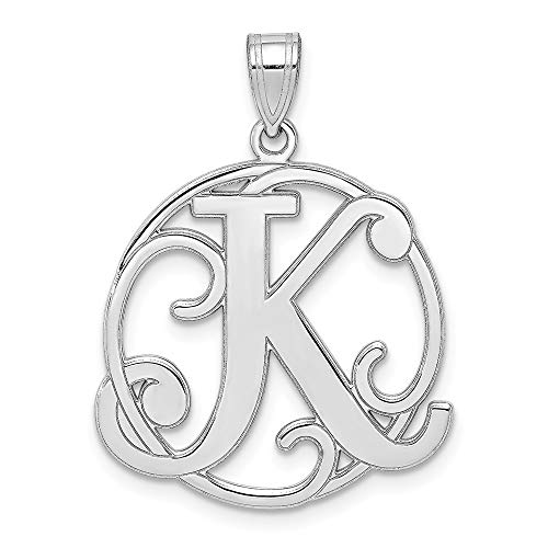(925 Sterling Silver Script Initial Monogram Name Letter K Pendant Charm Necklace Fine Jewelry Gifts For Women For Her)