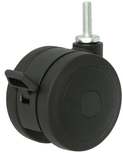 Shepherd-Softech-Series-75mm-Diameter-Soft-Tread-Unhooded-Twin-Thermoplastic-Elastomer-Wheel-Caster-with-Brake-516-Diameter-x-1-Length-UNC18-Threaded-Stem-165-lbs-Capacity-Black