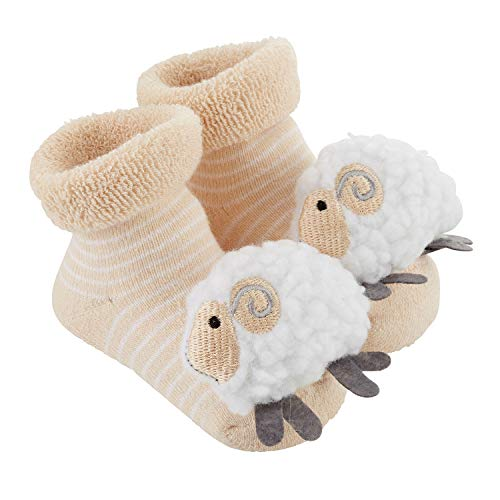 Lamb Booties - Stephan Baby Rattle Socks, Stripey Cream and White Lambs, Fits 3-12 Months