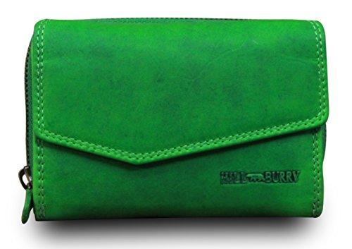 8729fbd14381e Hill Burry Geldbörse Damen Portemonnaie Bifold Premium Büffelleder Used  Look