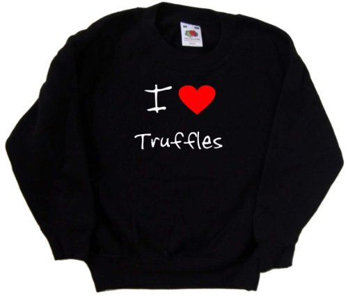 (I Love Heart Truffles Black Kids Sweatshirt (White print)-14-15 Years)