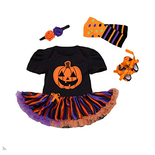 BabyPreg Baby Girls Halloween Skeleton Tutu Dress Set, Infant Pumpkin Costume (Pumpkin, XL for 12-18 -
