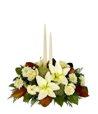 Christmas Flowers - White Magnolia Christmas Centerpiece by christmas flowers