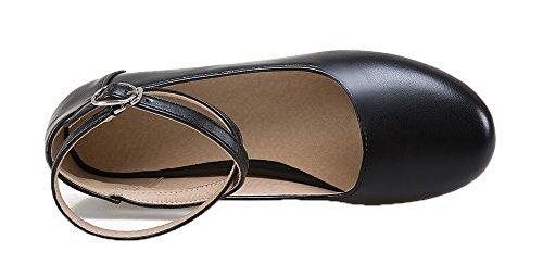 Solide Rond Chaussures Boucle Noir De Pu Femmes Voguezone009 Fermé Sans Bout Pompes Talon w5nPqRpz