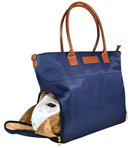 Sarah Wells ''Abby'' Breast Pump Bag, Real Leather Straps (Navy) by Sarah Wells (Image #1)