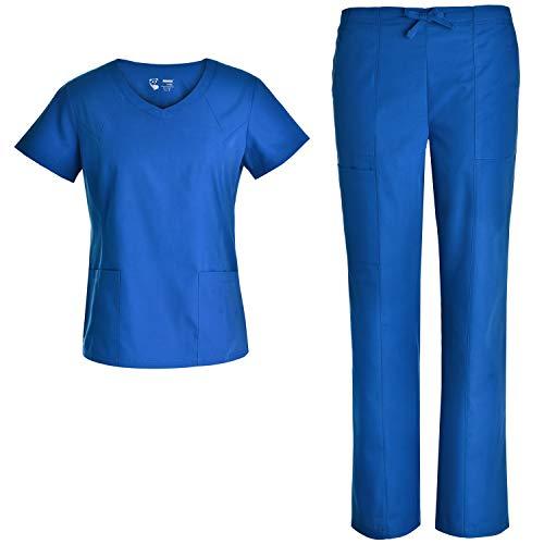 Women V Neck Nursing Scrubs Set - Pandamed Nurse Slim Scrubs Medical Uniforms Multiple Pockets Set JY3303 L ()