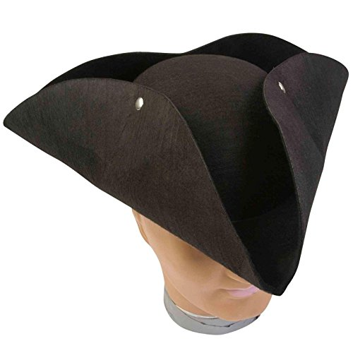 Deluxe Molded Pirate Hat (Standard) - Colonial Man Deluxe Costumes