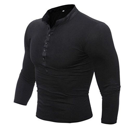 Men's Long-sleeved Tshirt,Toponly Men Spring Autumn Cotton Solid Color T Shirt Long Sleeve Top (Black, (Merino Spring)