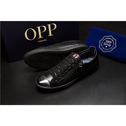 5e2fc51a2b67a OPP Hombres Sneaker Zapatos de Piel Diseño de marca Negro 1KRltgJbSa ...