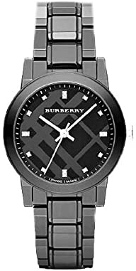 Burberry Diamond Black Dial Smoke Ceramic Quartz Ladies Quartz Watch BU9183