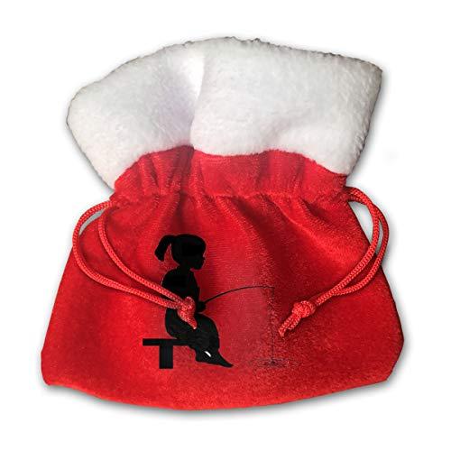 NRIEG Little Girl Fishing Christmas Candy Bags Santa Claus Gift Treat Sacks with Drawstring Xmas Stocking Ornaments Decor Handbag