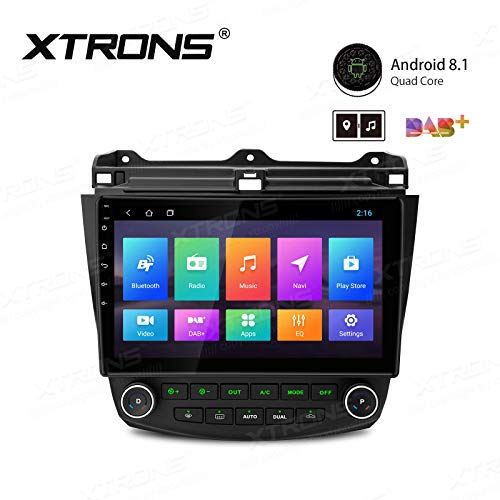 XTRONS 10.1 Inch Car Stereo Radio with Curved Touch Screen Android 8.1 Car GPS Navigator Bluetooth Head Unit Supports OBD2 DVR Backup Camera WiFi USB SD Full RCA Output for Honda Accord ()