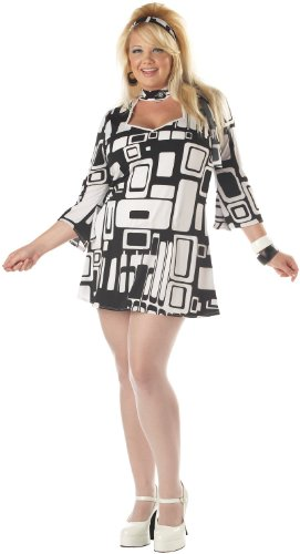 [California Costumes Women's Groovy Chick Costume, Black/White,XXL(16-18)] (80s Chick Costume)