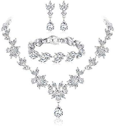 Florideco Wedding Bridal Jewelry Set for Women Rhinestone Necklace Bracelet Earrings Set Bridesmaid Crystal Jewelry