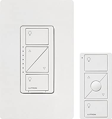Lutron P-PKG1W-WH-R 120V Smart Lighting Dimmer Switch And Remote Kit for Wall And Ceiling Lights