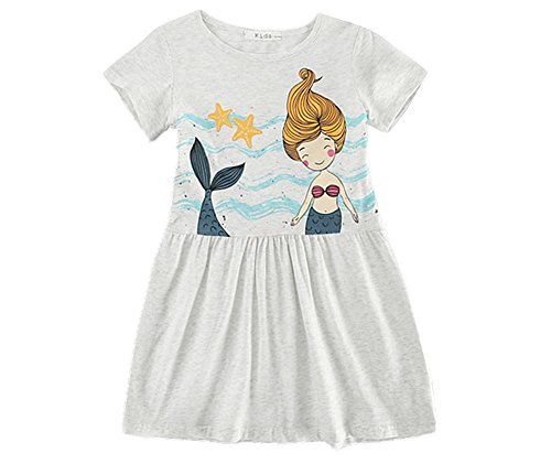 (Comfybuy Soft Cute Casual T Shirt Mermaid Dress for Baby Teen Girls Free Hairpin 5-6Y)